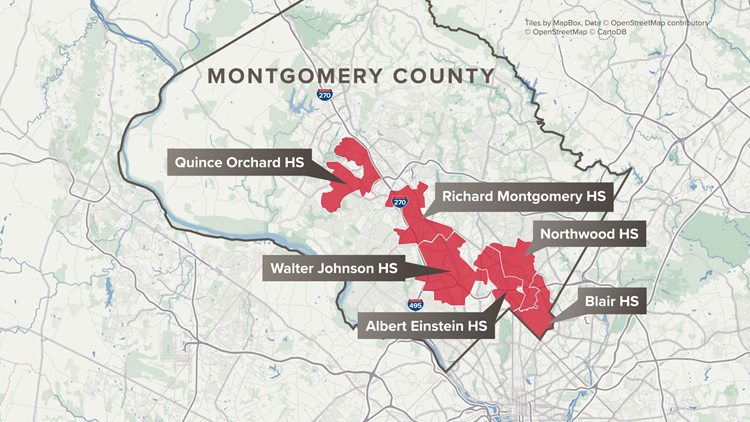 Moratorium areas within Montgomery County, MD